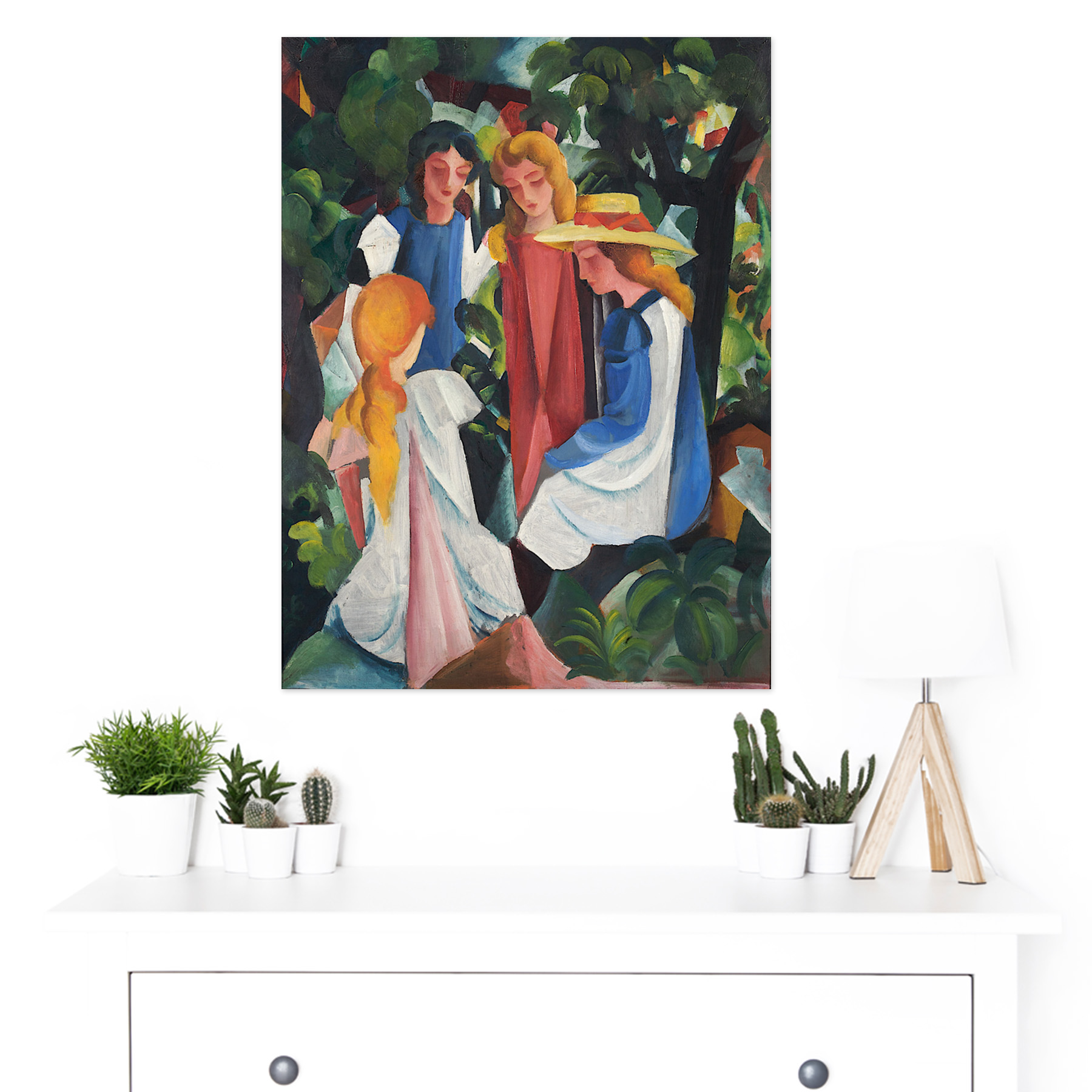 August-Macke-Four-Girls-Large-Framed-Art-Print thumbnail 3