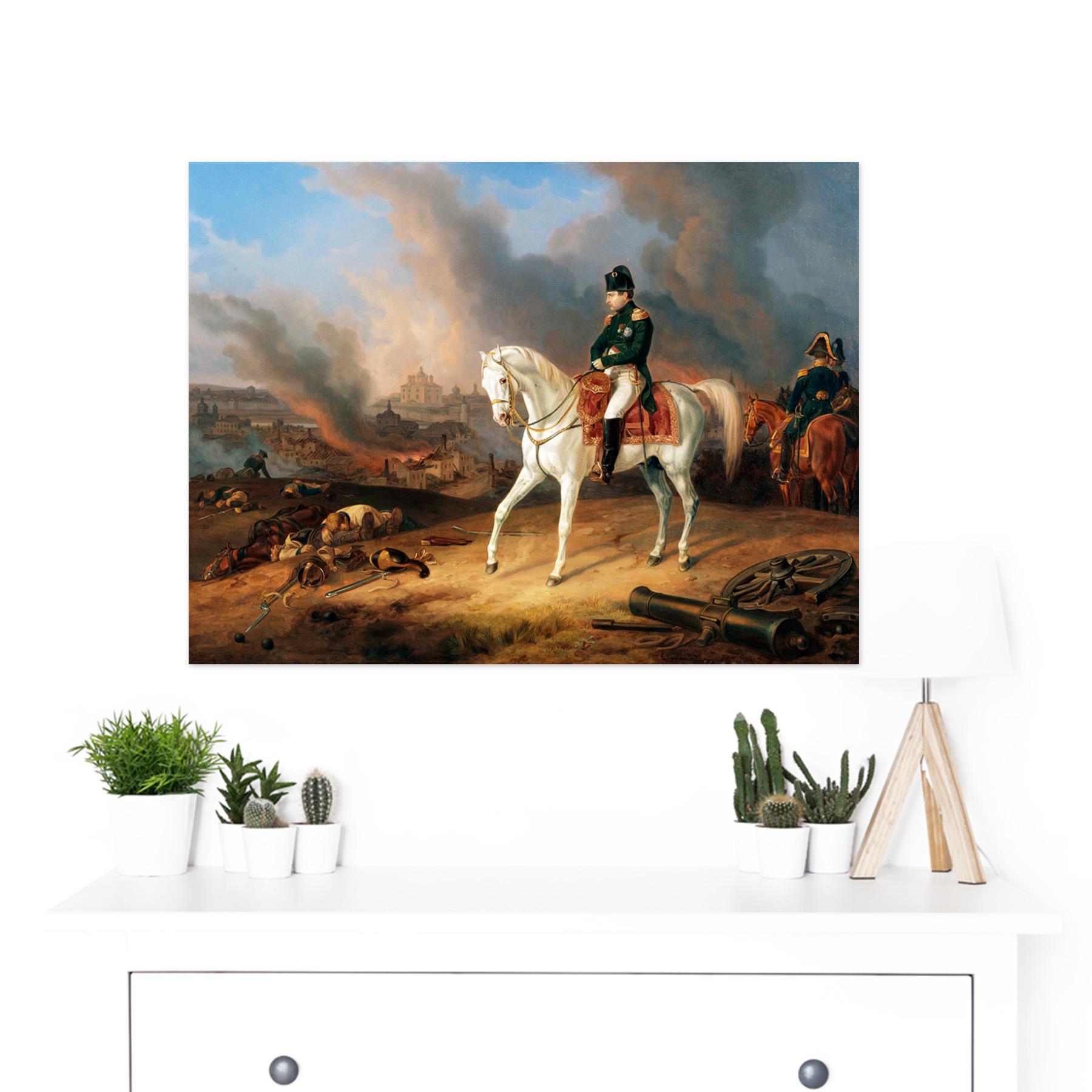 Adam Napoleon Burning Smolensk White Horse Painting Large Framed Art Print Ebay