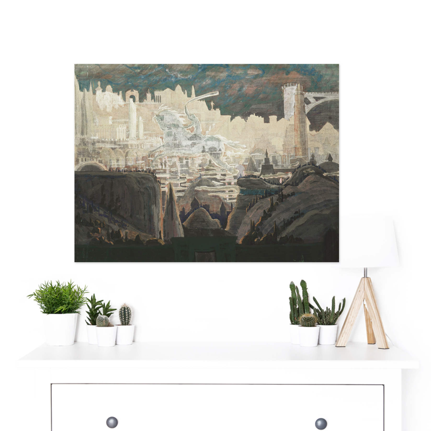 Ciurlionis-Prelude-The-Knight-Painting-Large-Framed-Art-Print thumbnail 3