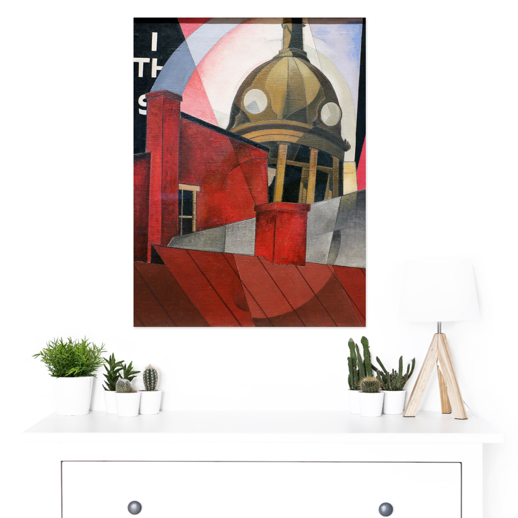 Demuth-Welcome-City-Red-Tower-Painting-Large-Framed-Art-Print thumbnail 3