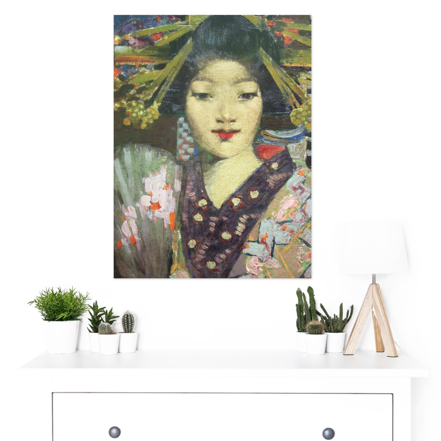 Henry-Geisha-Girl-Detail-Painting-Large-Framed-Art-Print thumbnail 3
