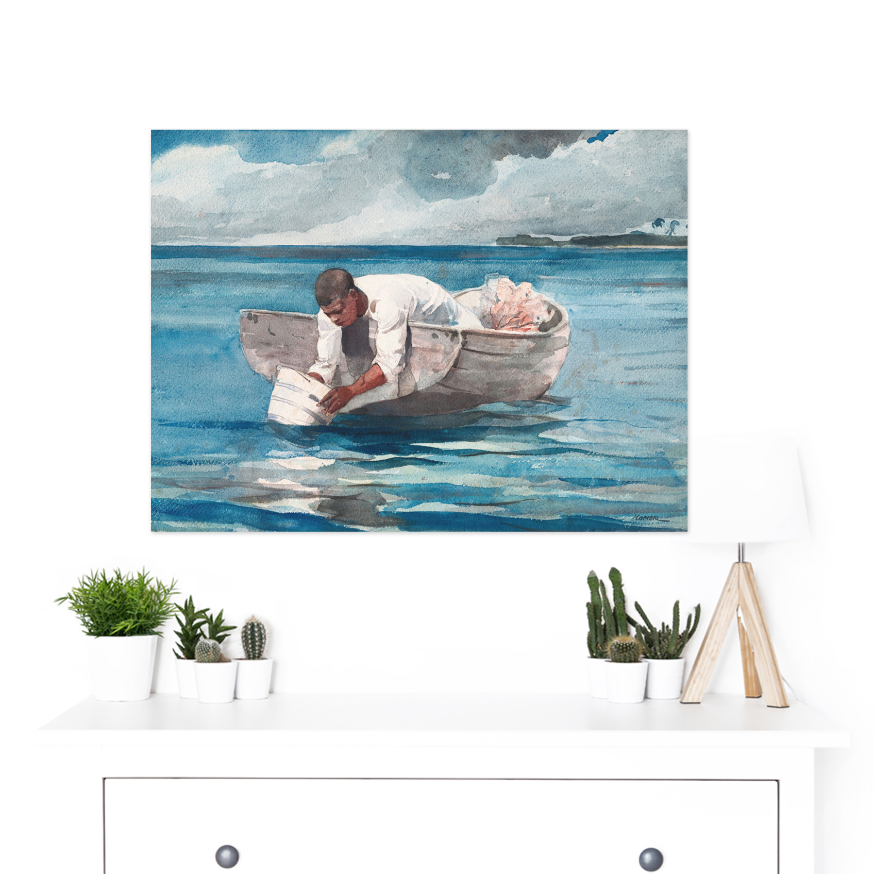 Homer-The-Water-Fan-Boat-Sea-Blue-Painting-Large-Framed-Art-Print thumbnail 3