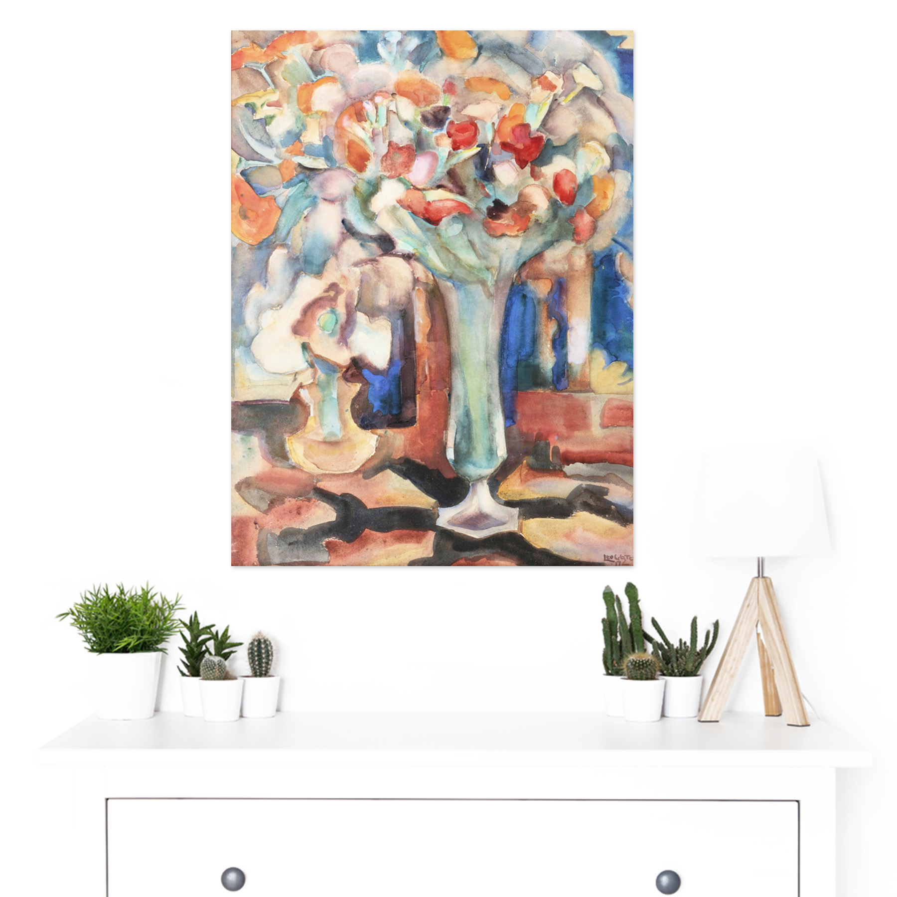 Gestel-Still-Life-Flowers-Glass-Vase-Painting-Large-Framed-Art-Print thumbnail 3
