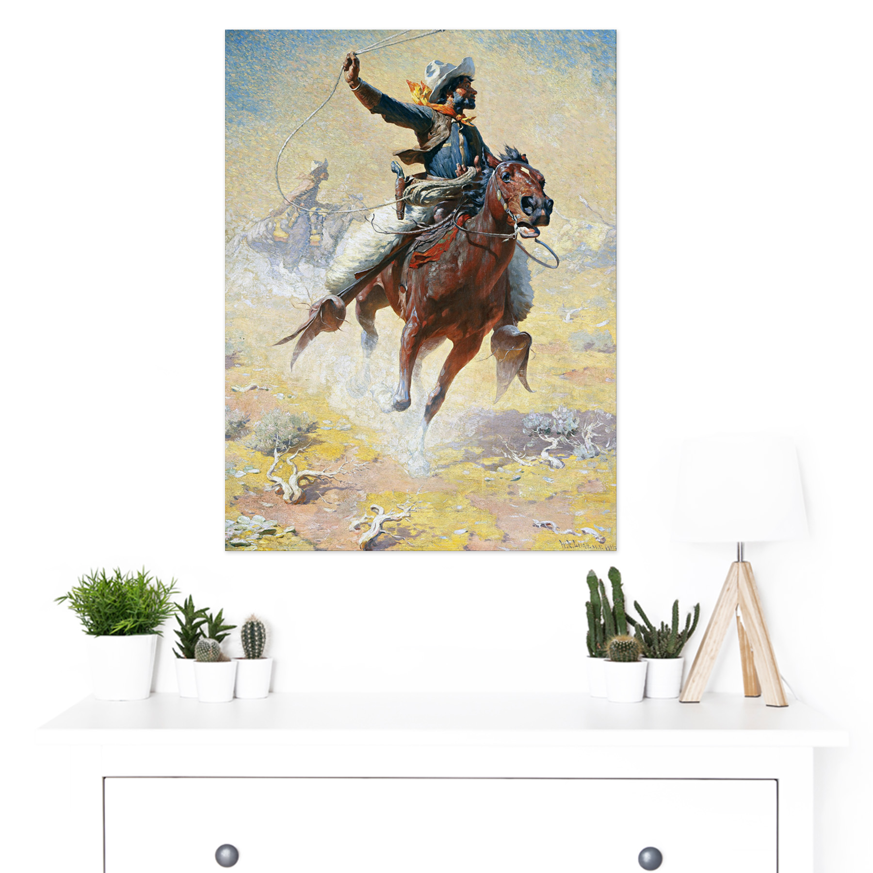 Leigh-The-Roping-Cowboy-Lasso-Horse-Painting-Large-Framed-Art-Print thumbnail 3