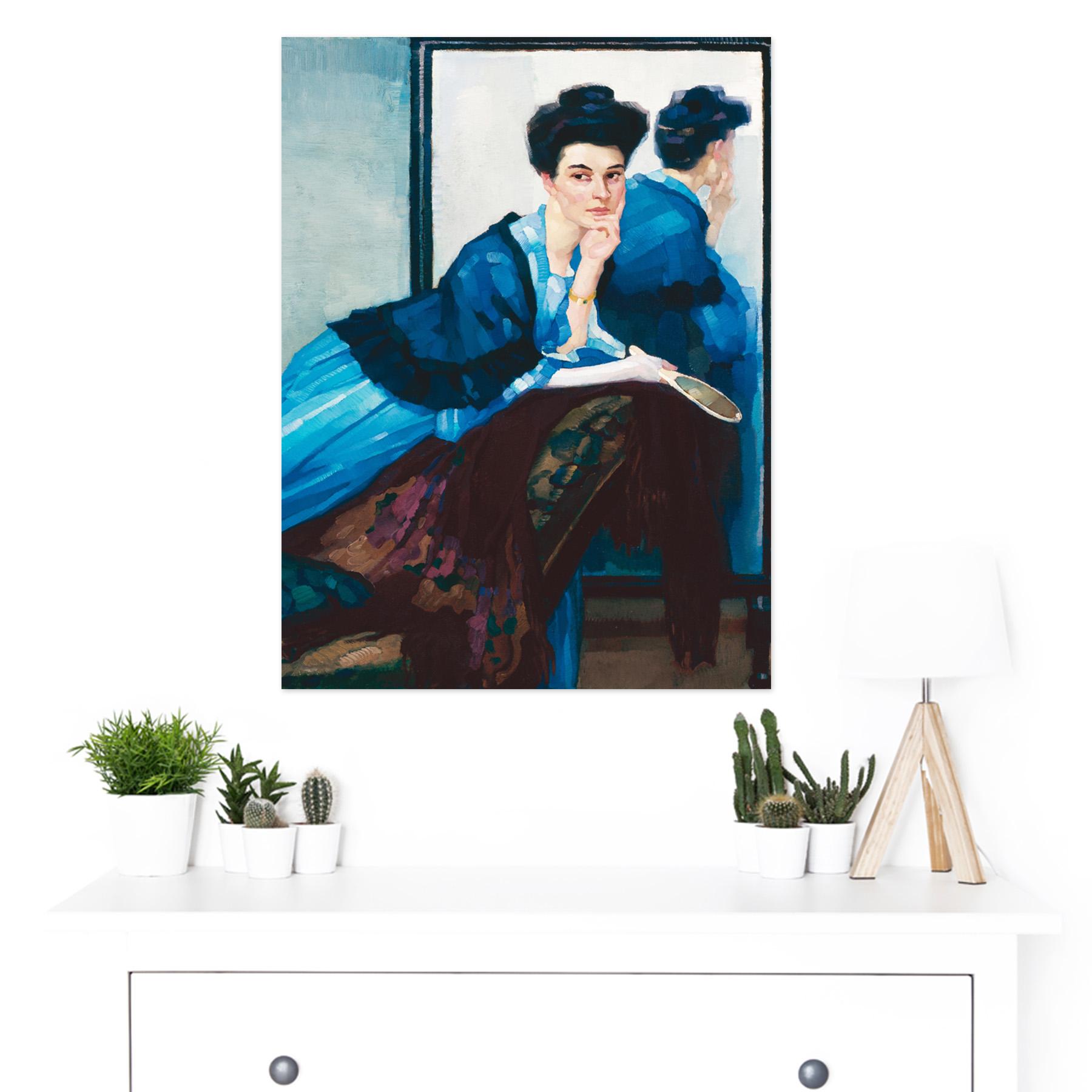 Putz-Woman-In-Blue-Dress-Painting-Large-Framed-Art-Print thumbnail 3