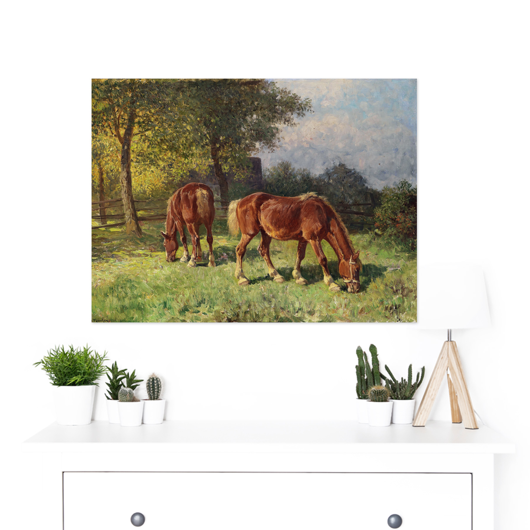 Van-Der-Venne-Horses-In-Pasture-Painting-Large-Framed-Art-Print thumbnail 3