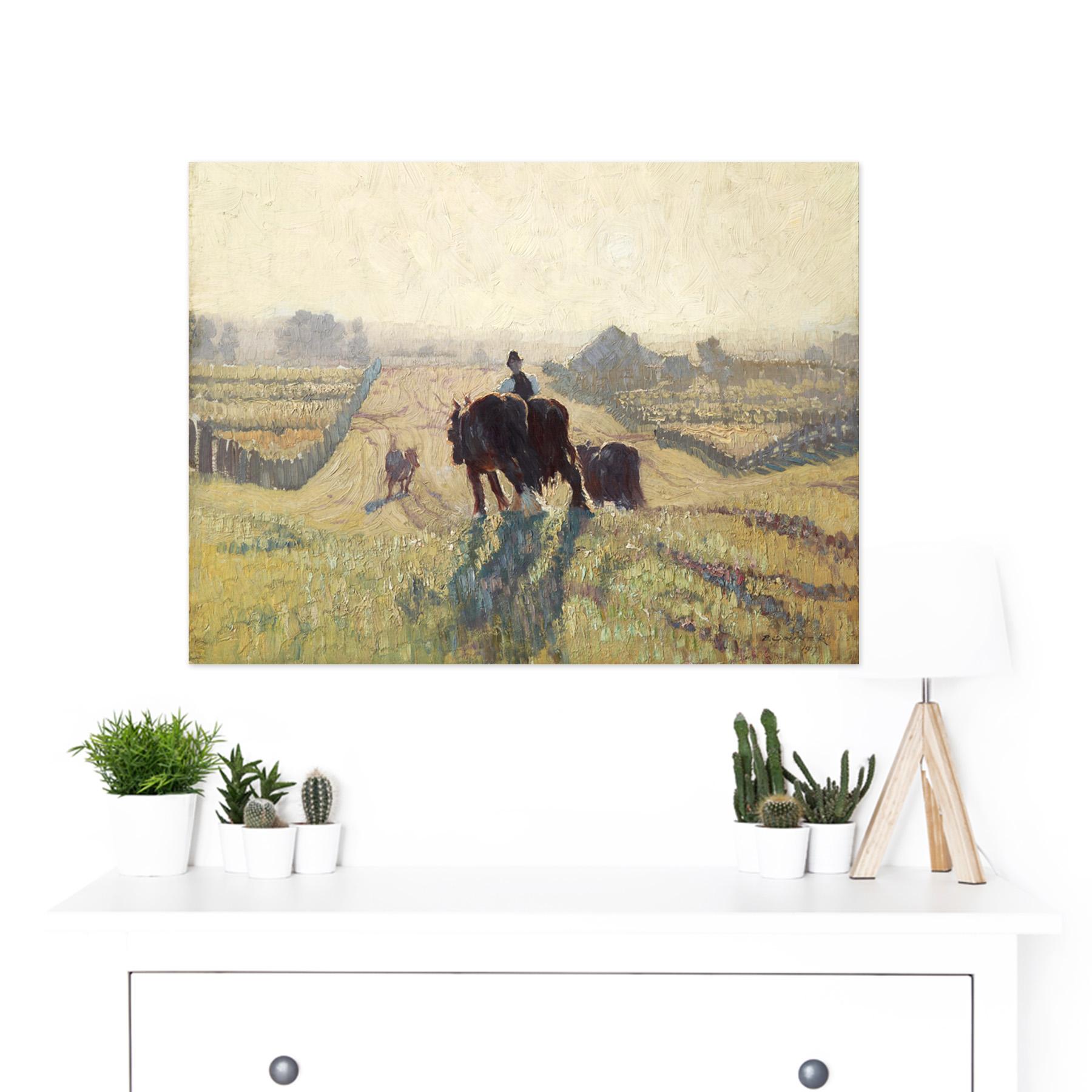 Elioth-Gruner-Frosty-Sunrise-Painting-Large-Framed-Art-Print thumbnail 3