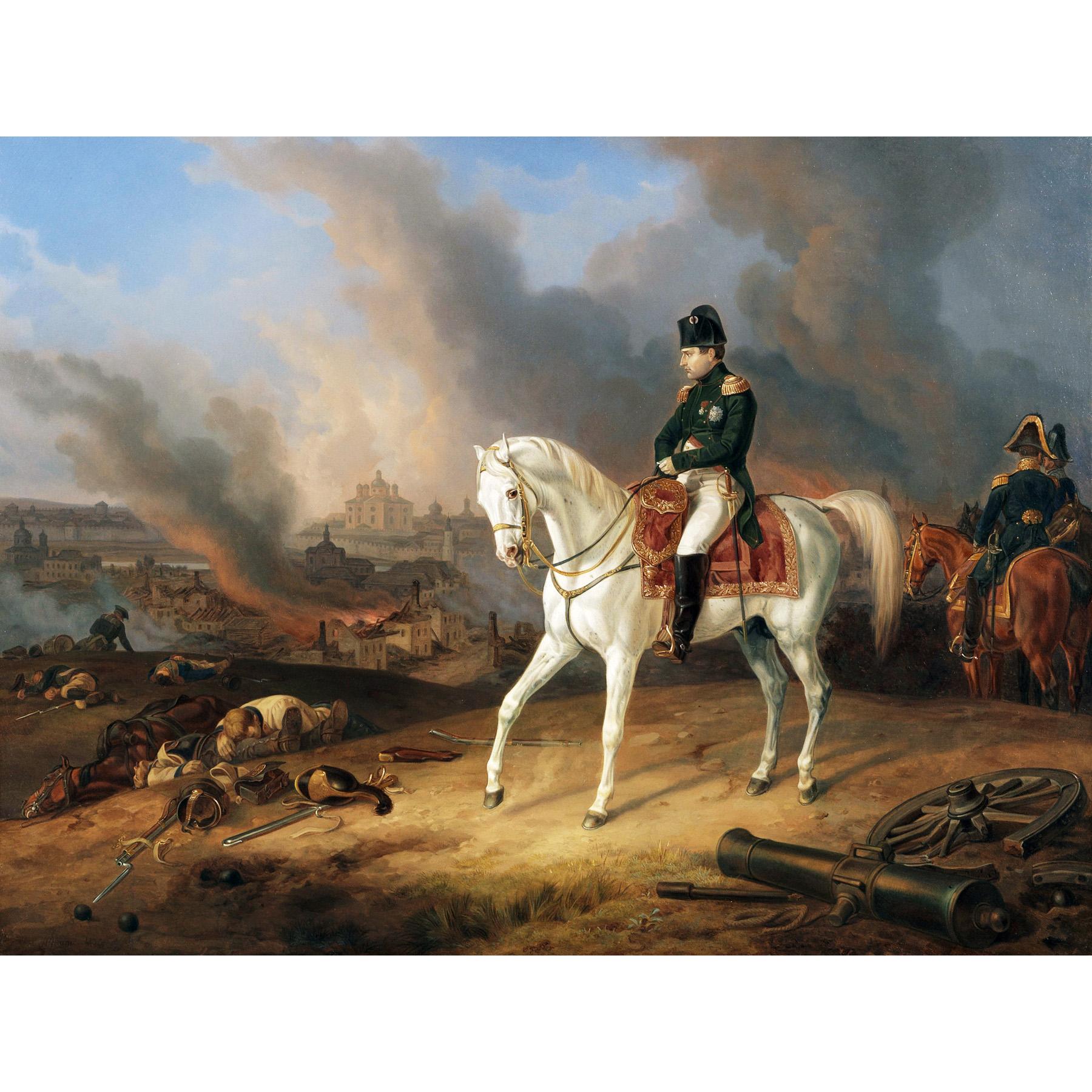 Adam Napoleon Burning Smolensk White Horse Painting Large Canvas Art Print Ebay