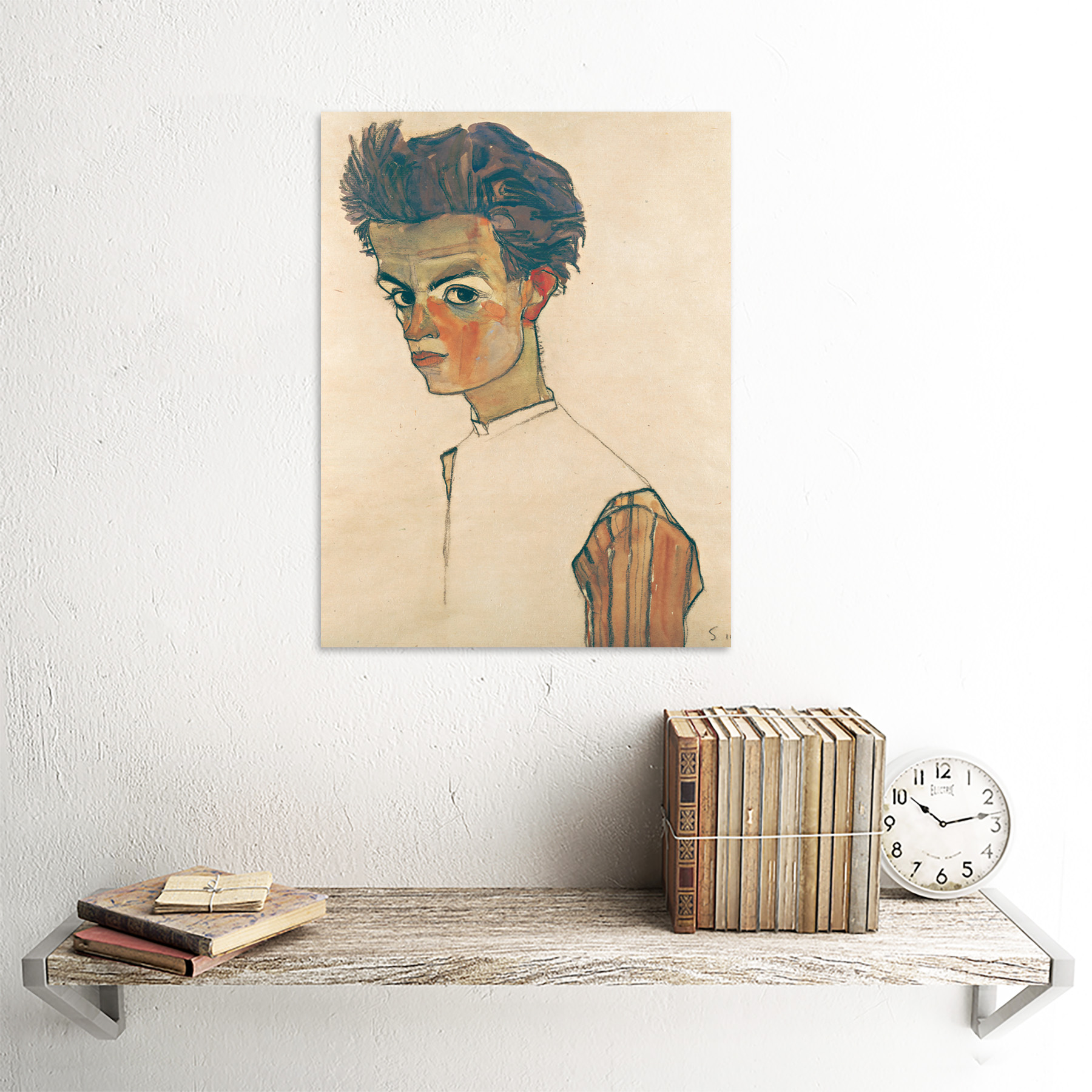 thumbnail 23 - Egon-Schiele-Self-Portrait-With-Striped-Shirt-Art-Print-Framed-12x16