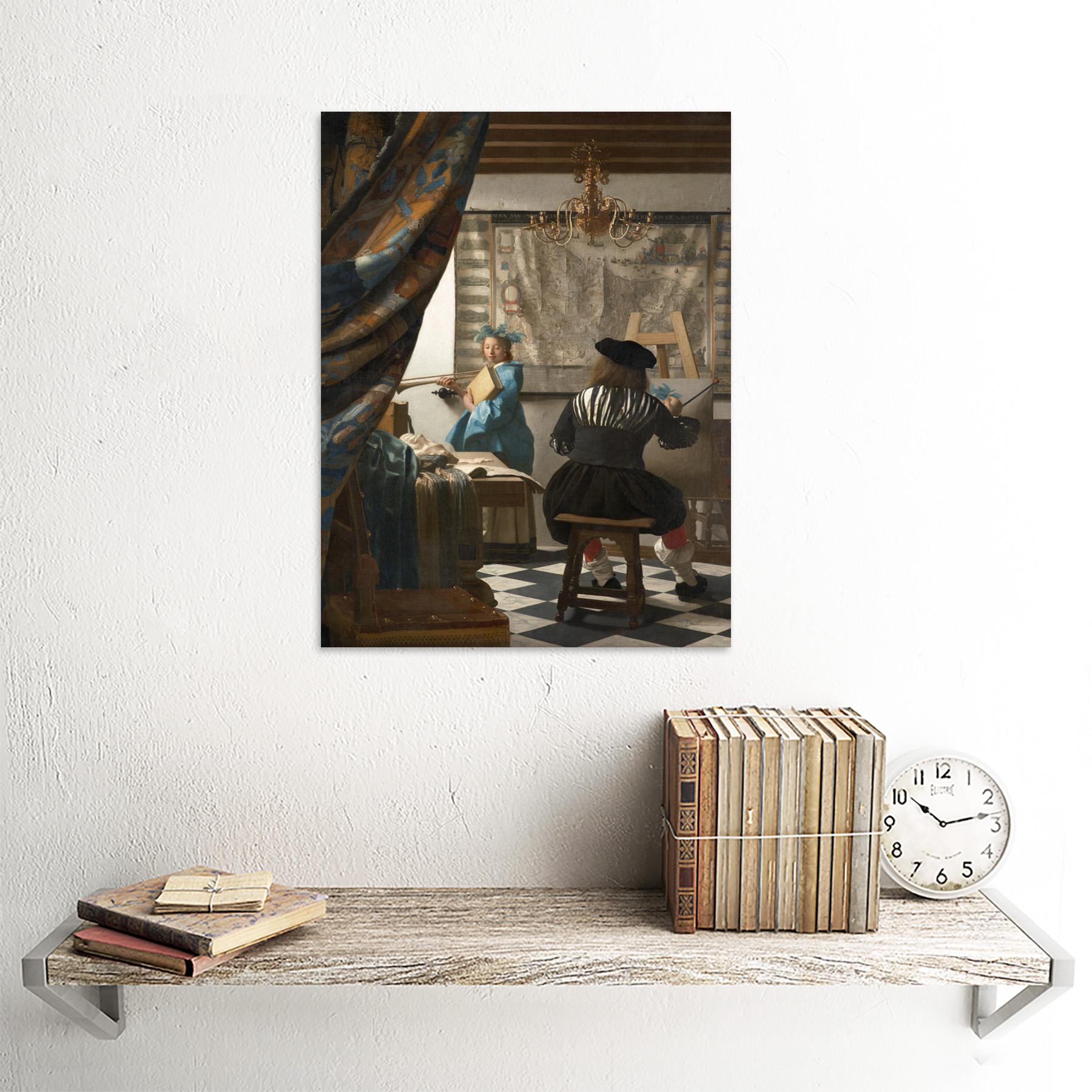 Jan-Vermeer-The-Art-Of-Painting-Art-Print-Framed-12x16 thumbnail 23