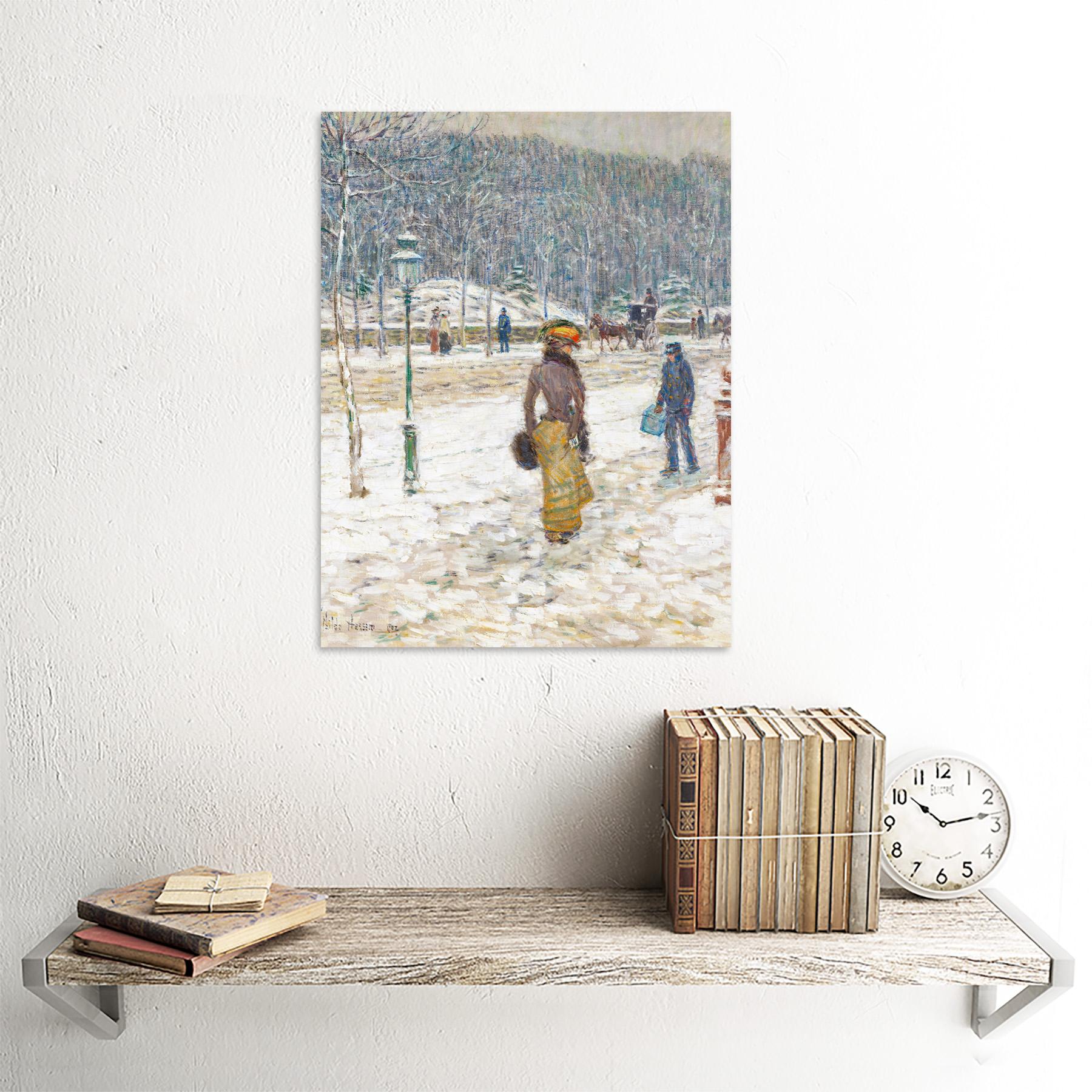Hassam-New-York-Street-Snow-Winter-Impressionist-Painting-Art-Print-Framed-12x16 thumbnail 23
