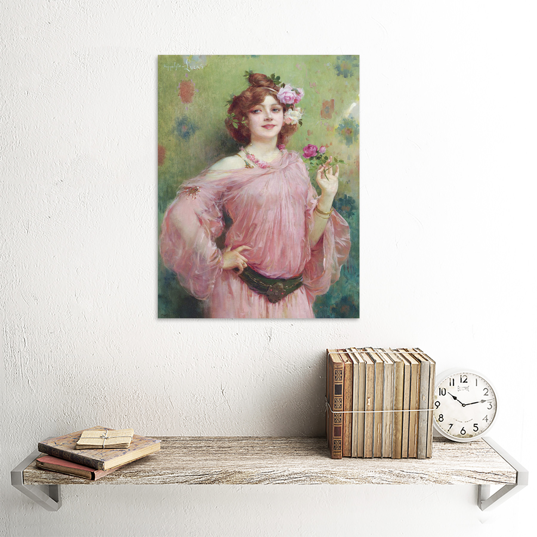 Hippolyte-Lucas-Beauty-In-Pink-Woman-Flowers-Painting-Art-Print-Framed-12x16 thumbnail 23