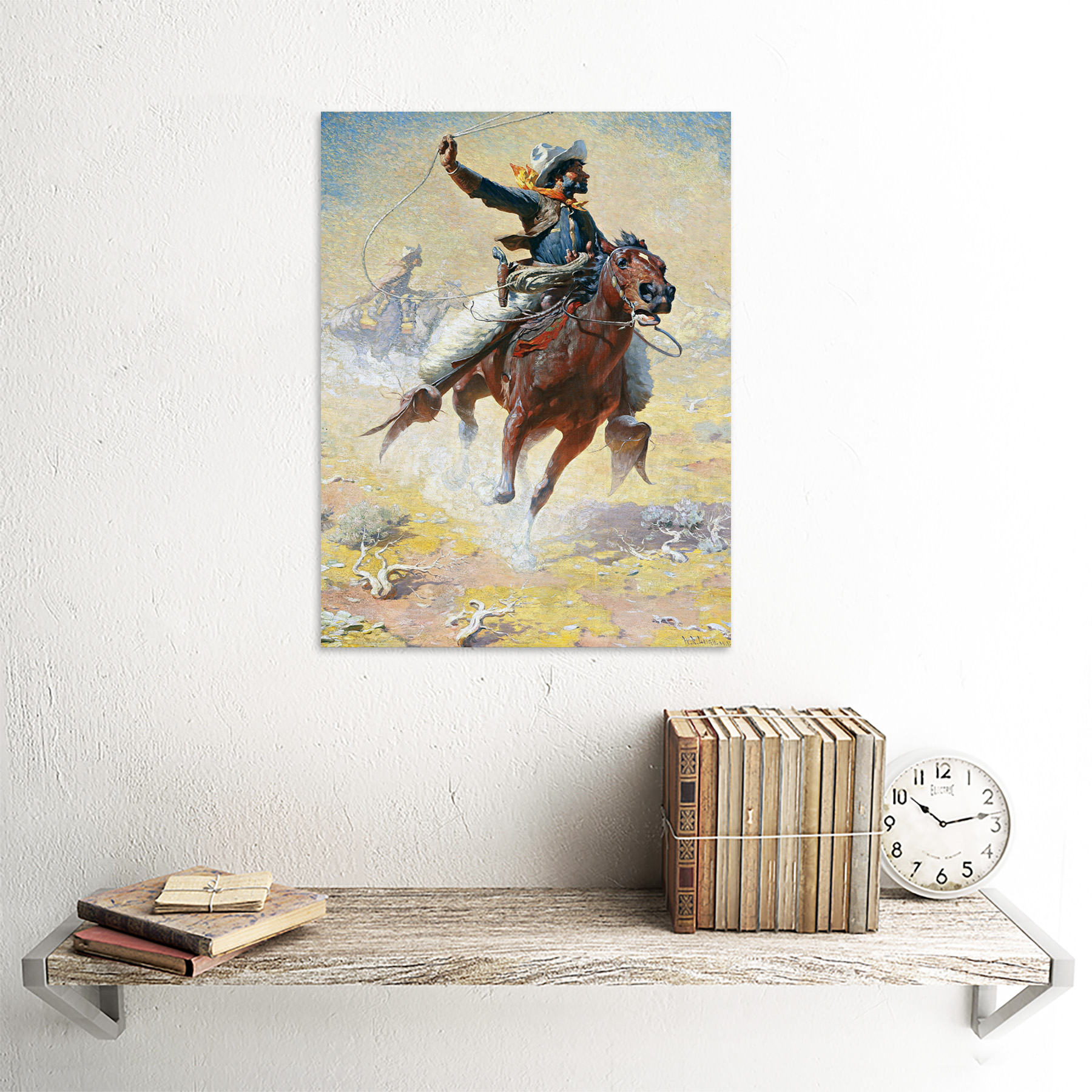 Leigh-The-Roping-Cowboy-Lasso-Horse-Painting-Art-Print-Framed-12x16 thumbnail 23
