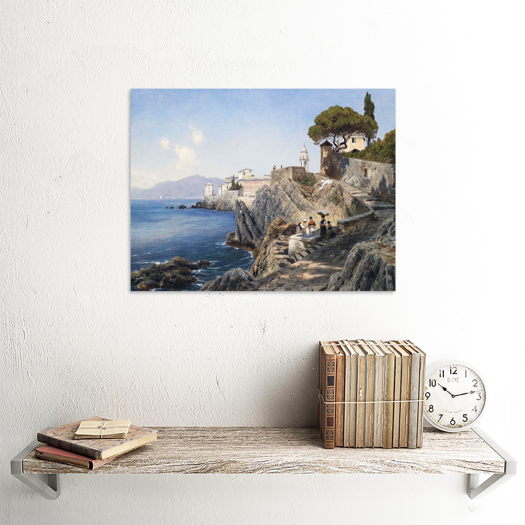 Lutteroth-Sturla-Shore-Genoa-Italy-Seascape-Painting-Art-Print-Framed-12x16 thumbnail 23