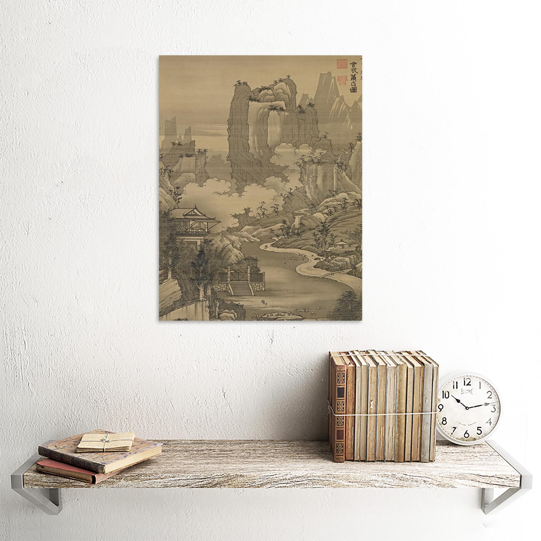 Shohaku-Orchid-Pavilion-Gathering-Screen-Painting-Wall-Art-Print-Framed-12x16 thumbnail 23