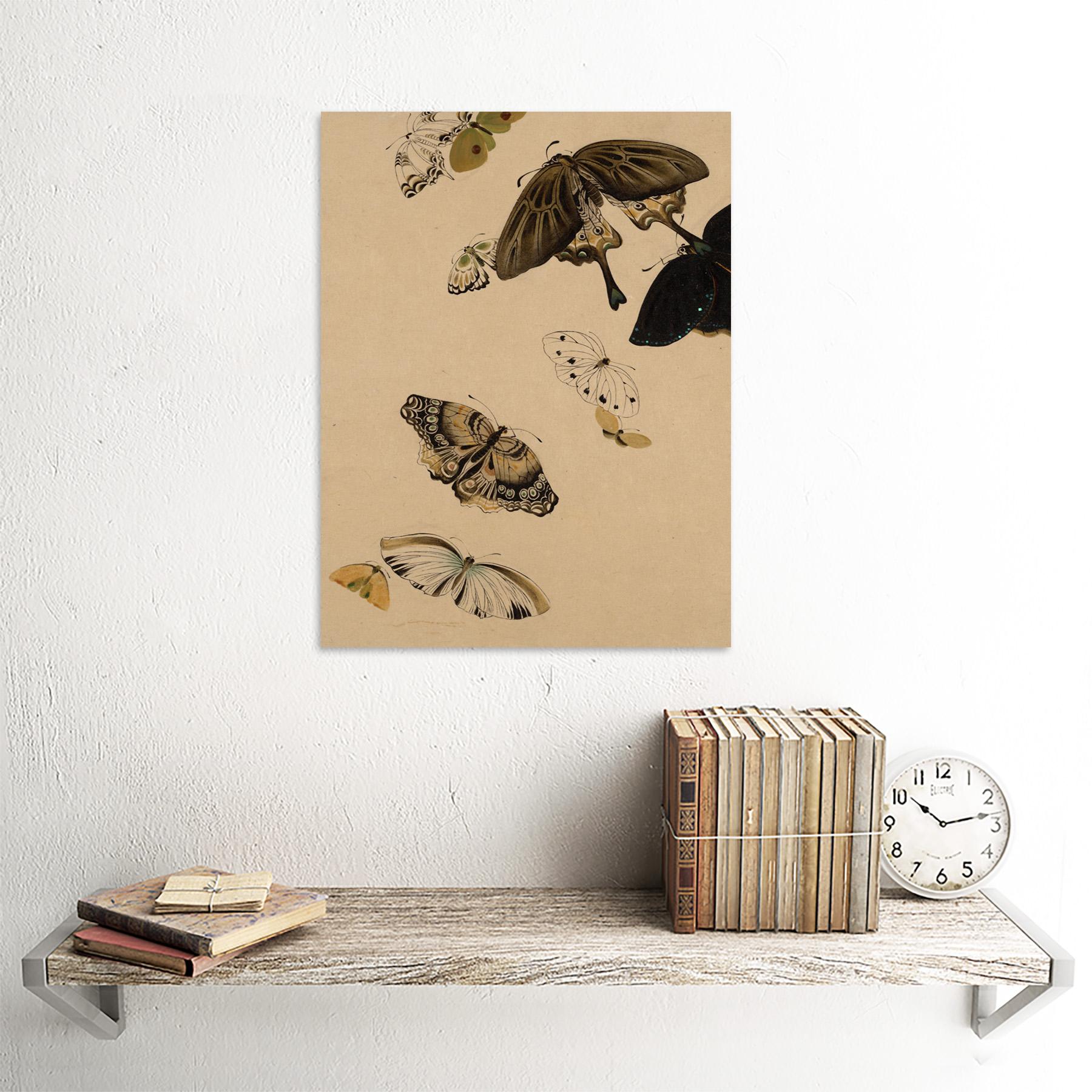 Zeshin-Butterflies-Japanese-Laquer-Painting-Wall-Art-Print-Framed-12x16 thumbnail 23
