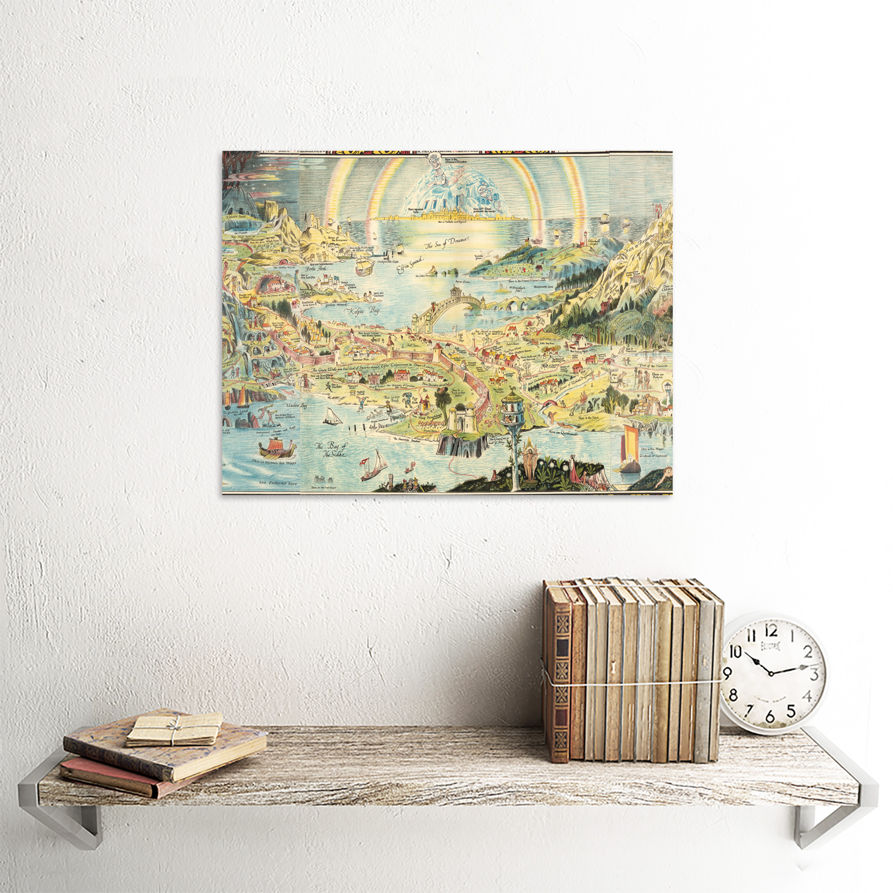 thumbnail 27 - Map-Sleigh-1918-Ancient-Fairyland-Fantasy-Chart-Wall-Art-Print-Framed-12x16