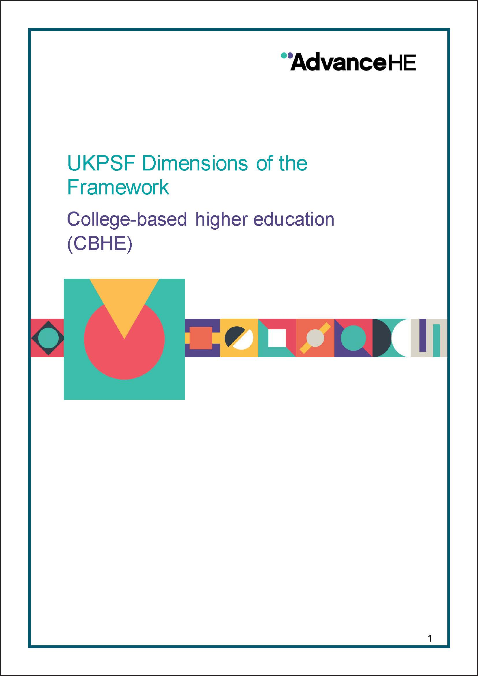 UKPSF Dimensions of the Framework – college-based higher education (CBHE)