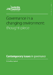 Governance in a changing environment: Thought piece