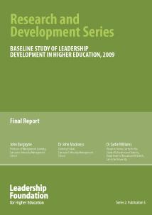 Baseline Study of Leadership Development in Higher Education, 2009