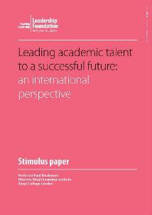 Leading academic talent to a successful future: an international perspective
