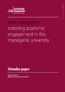 Neo-collegiality: restoring academic engagement in the managerial university