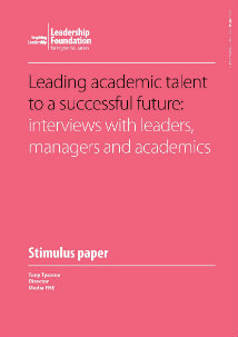 Leading academic talent to a successful future: interviews with leaders, managers and academics