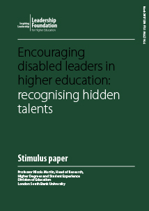 Encouraging disabled leaders in higher education: recognising hidden talents