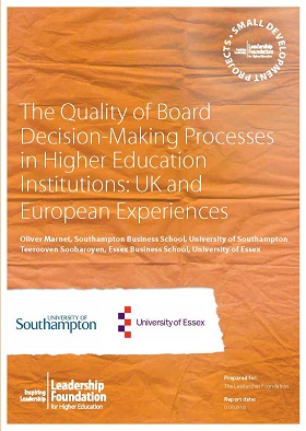 The Quality of Board Decision-Making Processes in Higher Education Institutions: UK and European Experiences