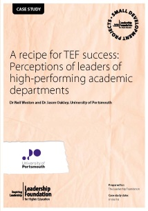 A recipe for TEF success: Perceptions of leaders of high performing academic departments
