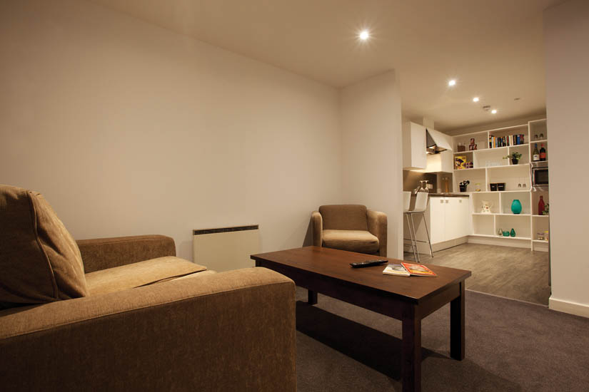 Glasgow_Student_Accommodation_Gallery_Apartments_lounge_kitchen_two bed apartment