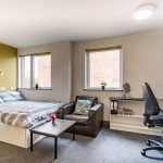 Studio room at Russel View student accommodation in Nottingham