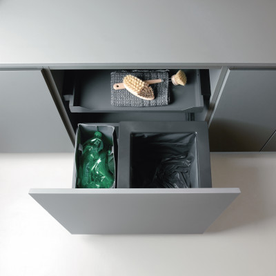 Universal pull out OEKO waste bin 40 litre + bag , metal shelf, CW=512-568 mm, anthracite