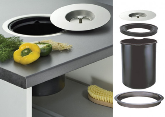 Worktop waste bin, capacity 11 litres, dim. A=310 mm, dim. B=280 mm, dim. C=300 mm
