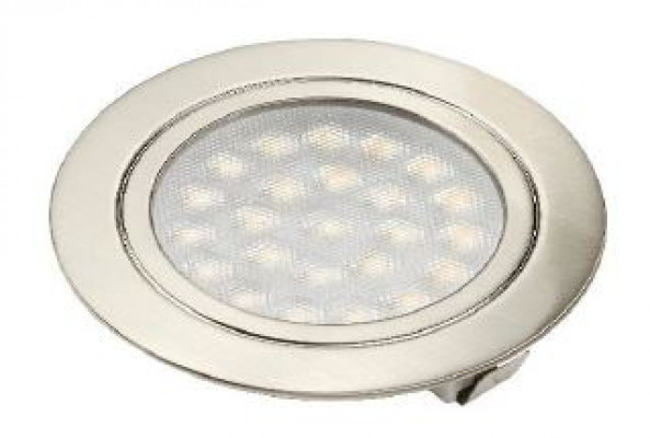 LED recessed downlight, 2W/21 diode, D=61mm, TOP socket, cool white 6500K, frosted/chrome