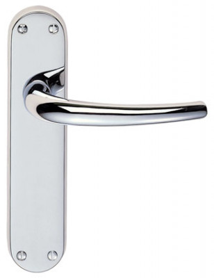Lillia door handle on backplate supplied in all variations in polished chrome