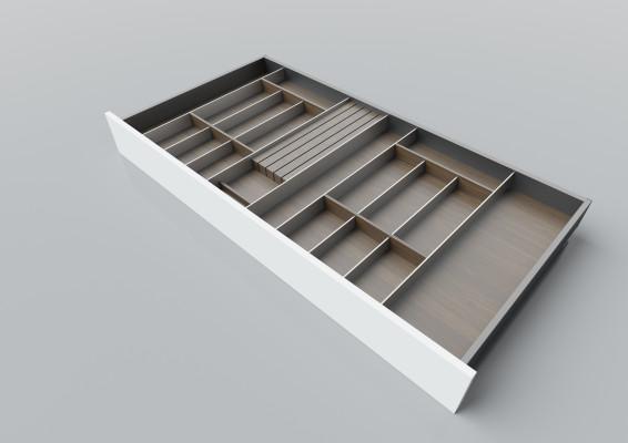 Cutlery divider for LEGRABOX/TA'OR C=1000-1200 mm, NL=600 mm, walnut