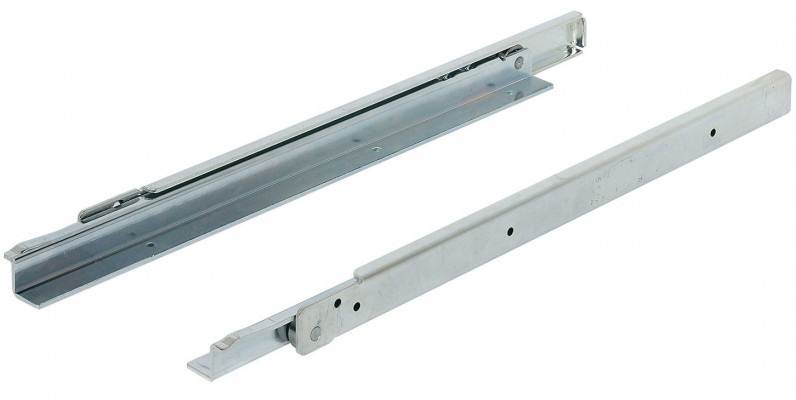 Roller drawer runners, single extension, heavy duty, installed length 650 mm