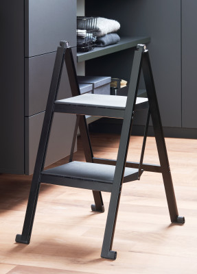 STEPOLO two step ladder, with mounting bracket, black aluminium