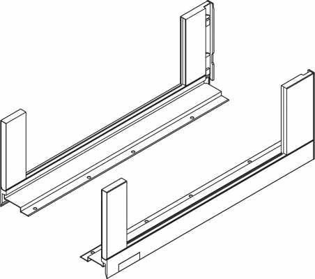 LEGRABOX free drawer side, height C (177 mm), NL=450 mm, left+right, stainless steel