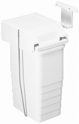 Waste bin, for hinged cabinet doors, mounting to the rear or side of the cabinet, 8 litres