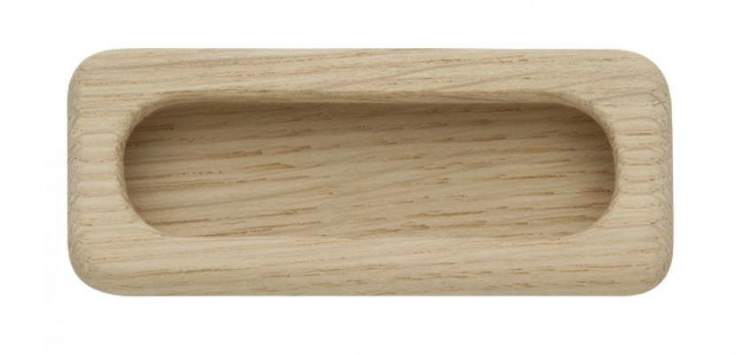 Inset handle, unfinished wood, 94 mm, oak