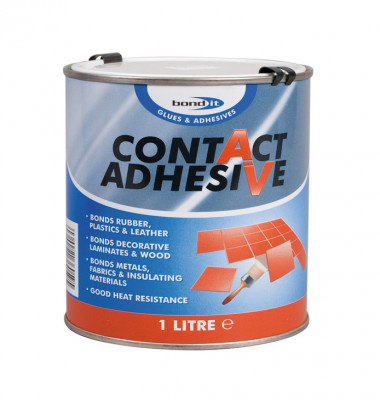 Contact adhesive, solvent based, tin 1 litre, yellow
