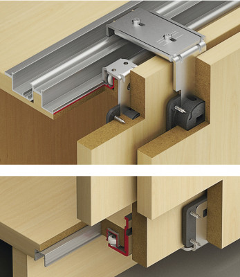 Top hung system, fitting set, 3 sliding cabinet doors, Slido classic IF20, without soft cl