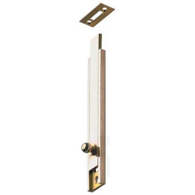 Surface bolt, knob slide action, surface or semi-recessed fixing, brass, satin nickel