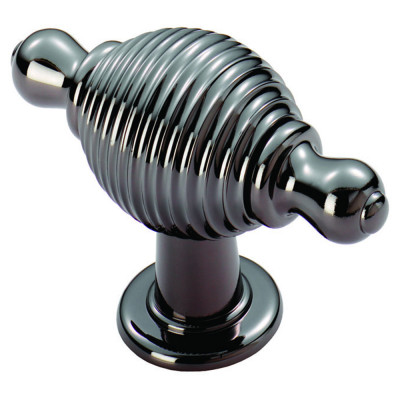 Reeded knob with finial ends, 70x26 mm, brushed nickel