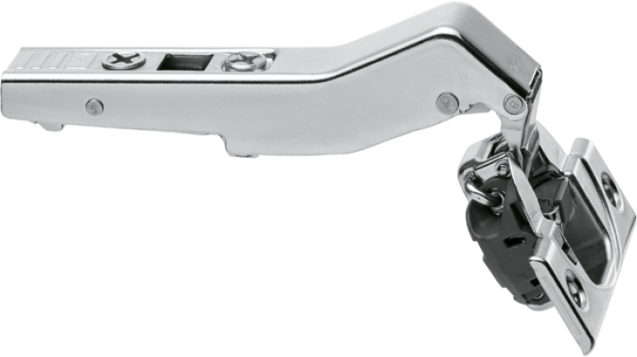 CLIP top BLUMOTION angled hinge 110° for +45° application, OVERLAY, boss: screw-on, NP
