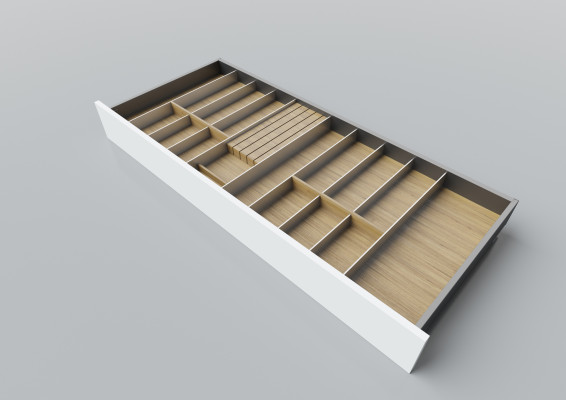 Cutlery divider for LEGRABOX/TA'OR C=1000-1200 mm, NL=500 mm, oak