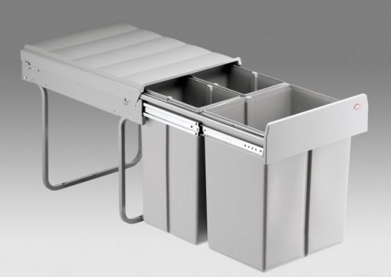 Bio treble waste bin, CW=400 mm, 40 litre (1x20,2x10 litre), WESCO, grey