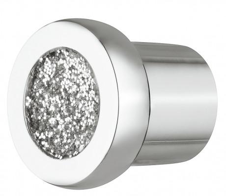 Knob, zinc alloy, › 24 mm, glitter, chrome with glitter inner, sealed